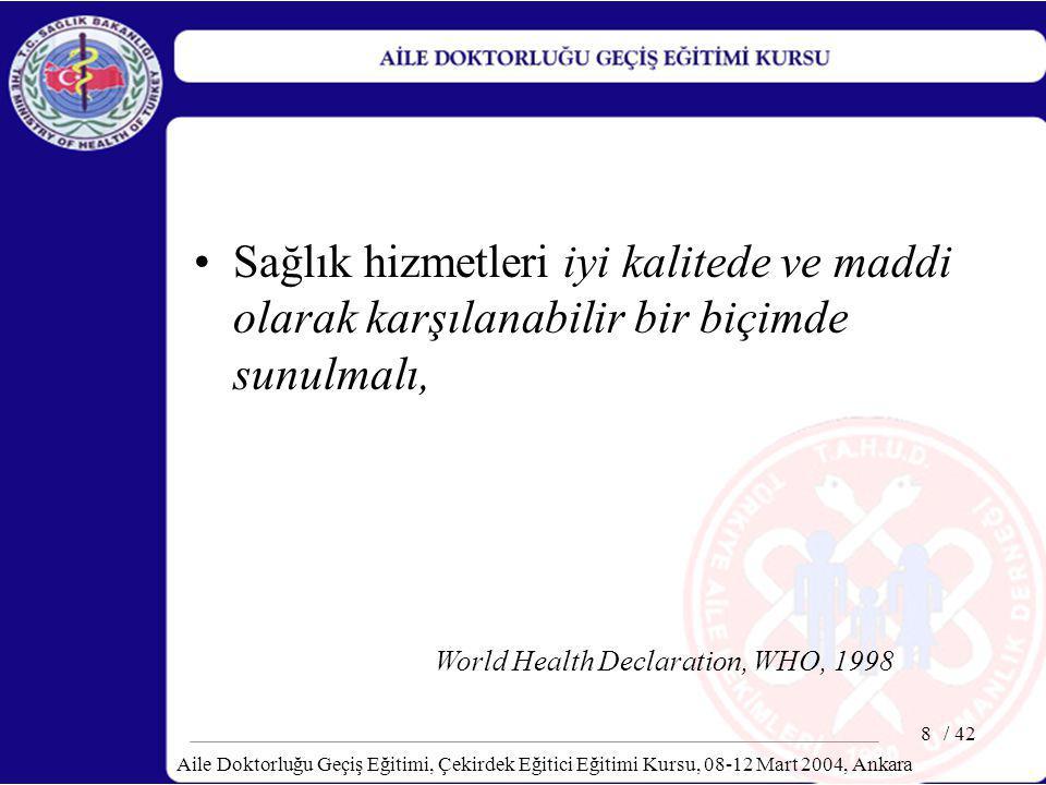 / 42 Aile Doktorluğu Geçiş Eğitimi, Çekirdek Eğitici Eğitimi Kursu, 08-12 Mart 2004, Ankara 29 Toplumun Gereksinmelerini Gözeten Bir Sağlık Hizmeti ve Tıp Eğitimi Sistemi Oluşturmak İçin Öneriler Aile Hekimliği bir disiplin olarak tanımlanmalıdır.