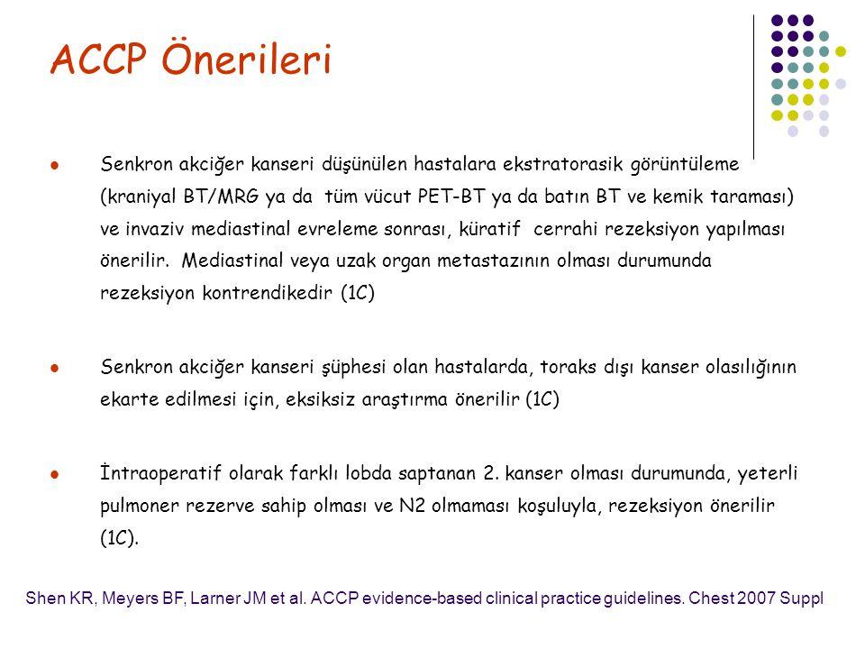 ACCP Önerileri Senkron akciğer kanseri düşünülen hastalara ekstratorasik görüntüleme (kraniyal BT/MRG ya da tüm vücut PET-BT ya da batın BT ve kemik t