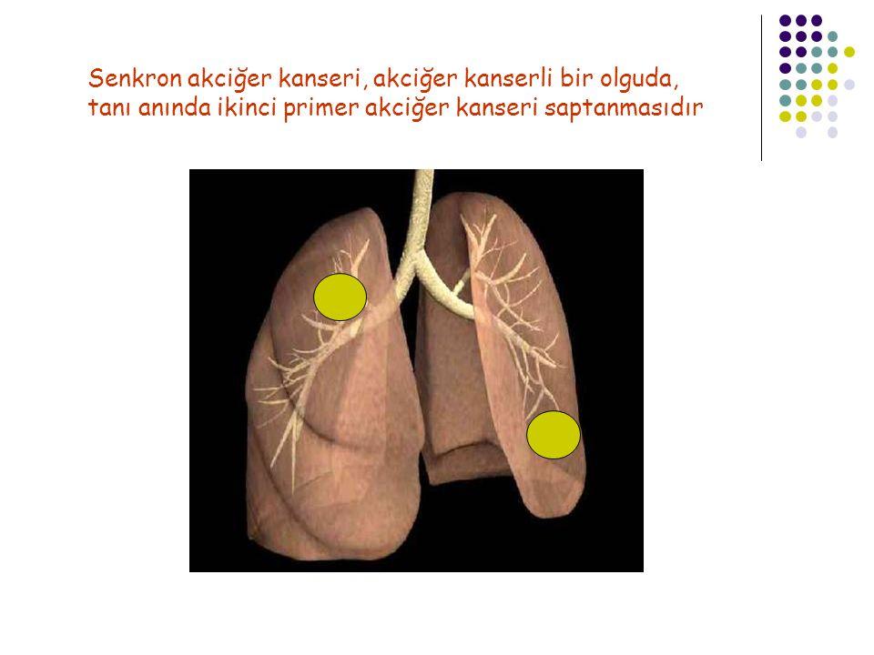 Senkron akciğer kanseri Görülme sıklığı: %0.8 - 14.5 5 yıllık sağkalım oranı: %0-76 Sağkalım farklılığı nedenleri: Tanı güçlükleri, BAK, karsinoid tümör ve satellit nodüllü olguların dahil edilmesi, olgu sayısının az olması, 2.