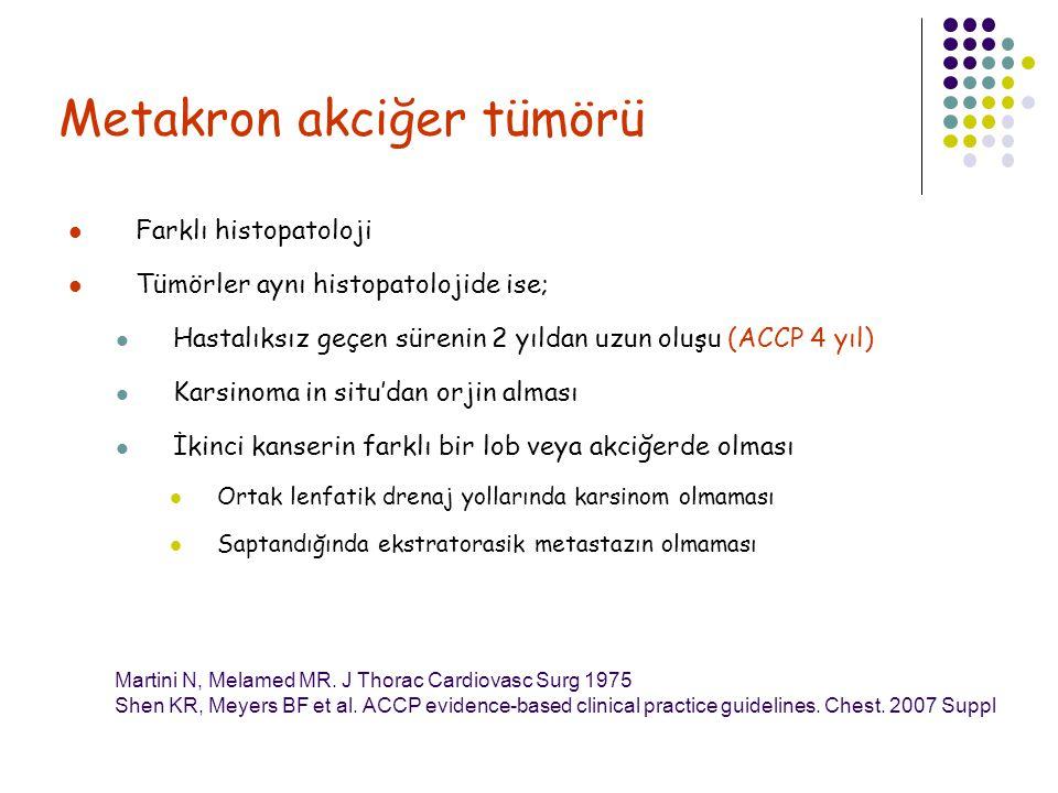 Metakron akciğer tümörü Farklı histopatoloji Tümörler aynı histopatolojide ise; Hastalıksız geçen sürenin 2 yıldan uzun oluşu (ACCP 4 yıl) Karsinoma i