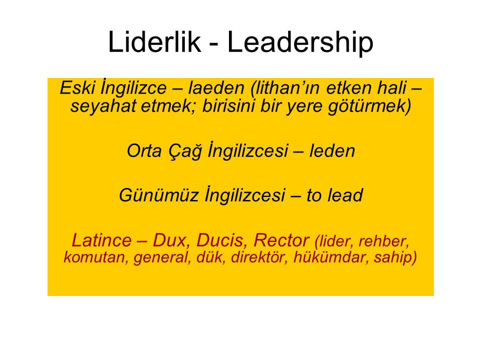 Liderlik - Leadership Eski İngilizce – laeden (lithan'ın etken hali – seyahat etmek; birisini bir yere götürmek) Orta Çağ İngilizcesi – leden Günümüz
