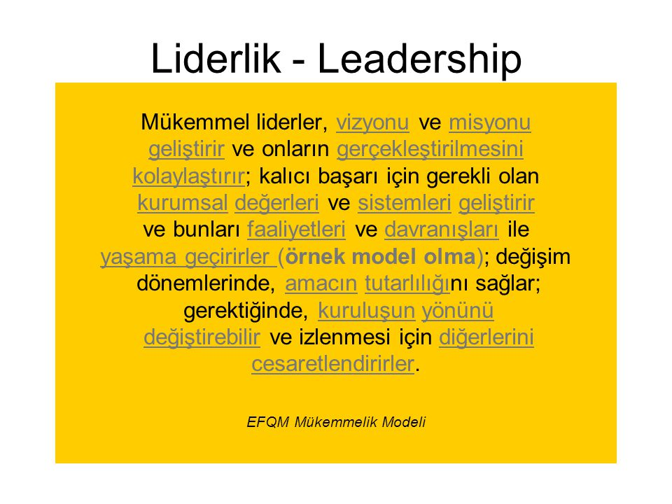 Mükemmel liderler, vizyonu ve misyonu geliştirir ve onların gerçekleştirilmesini kolaylaştırır; kalıcı başarı için gerekli olan kurumsal değerleri ve