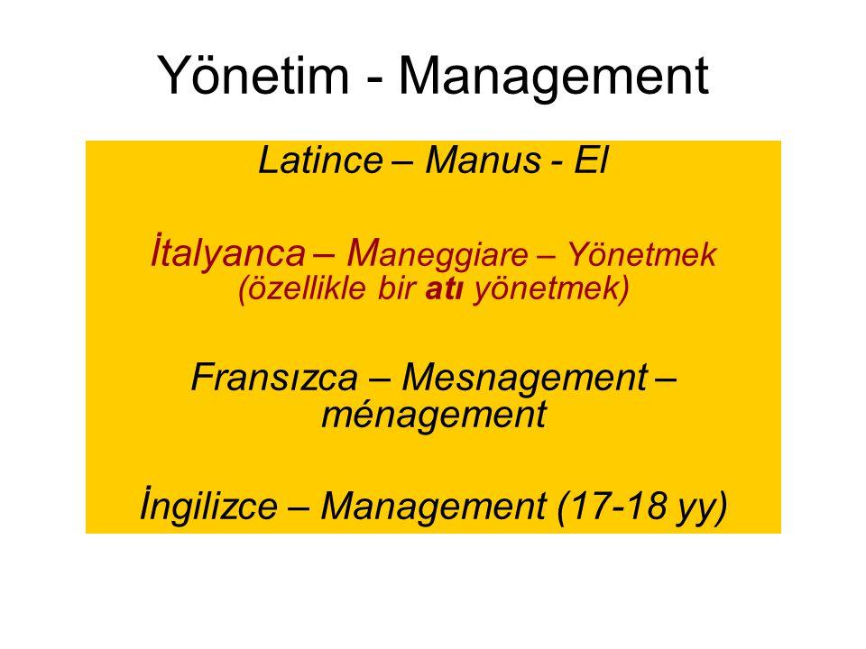 Yönetim - Management Latince – Manus - El İtalyanca – M aneggiare – Yönetmek (özellikle bir atı yönetmek) Fransızca – Mesnagement – ménagement İngiliz
