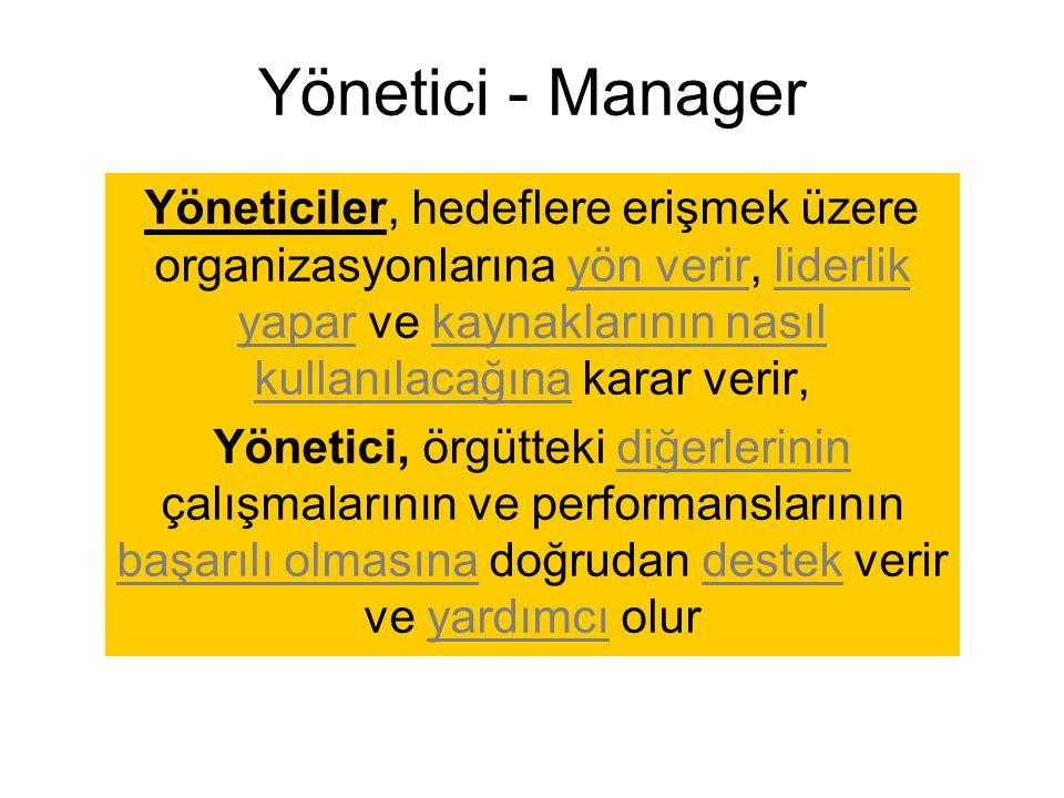 Yönetici - Manager Yöneticiler, hedeflere erişmek üzere organizasyonlarına yön verir, liderlik yapar ve kaynaklarının nasıl kullanılacağına karar veri