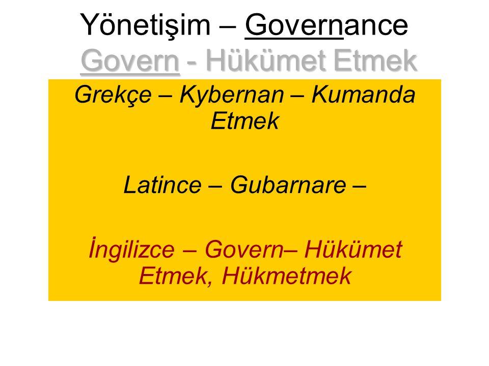 Govern - Hükümet Etmek Yönetişim – Governance Govern - Hükümet Etmek Grekçe – Kybernan – Kumanda Etmek Latince – Gubarnare – İngilizce – Govern– Hüküm