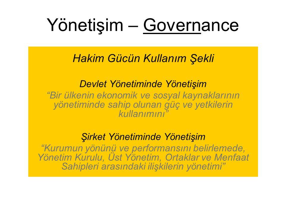 """Yönetişim – Governance Hakim Gücün Kullanım Şekli Devlet Yönetiminde Yönetişim """"Bir ülkenin ekonomik ve sosyal kaynaklarının yönetiminde sahip olunan"""