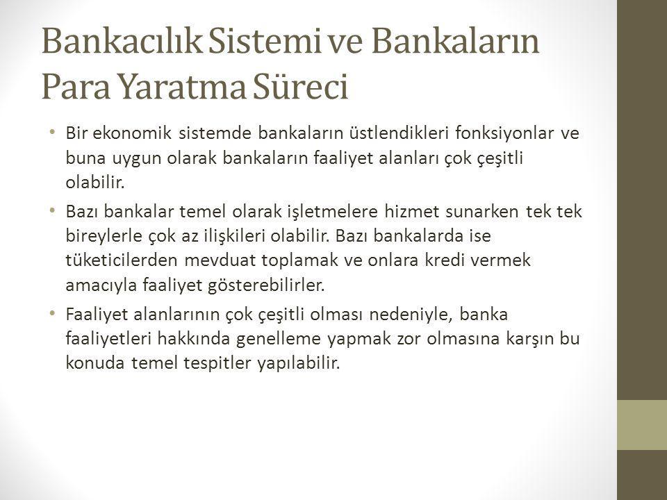 Bankacılık Sistemi ve Bankaların Para Yaratma Süreci Bir ekonomik sistemde bankaların üstlendikleri fonksiyonlar ve buna uygun olarak bankaların faali