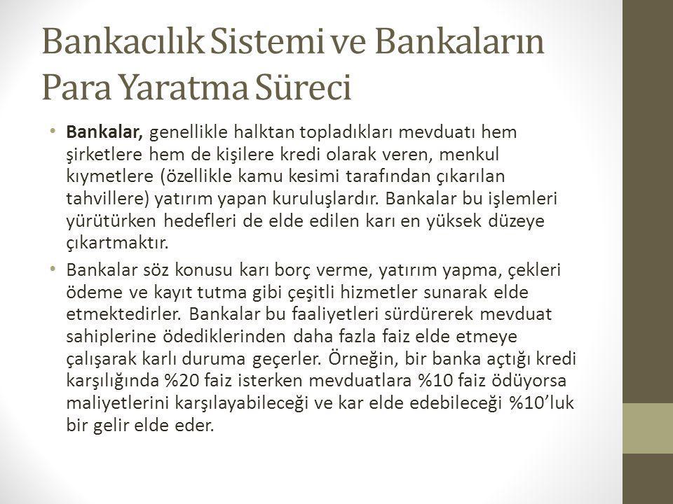 Bankacılık Sistemi ve Bankaların Para Yaratma Süreci Bankalar, genellikle halktan topladıkları mevduatı hem şirketlere hem de kişilere kredi olarak ve