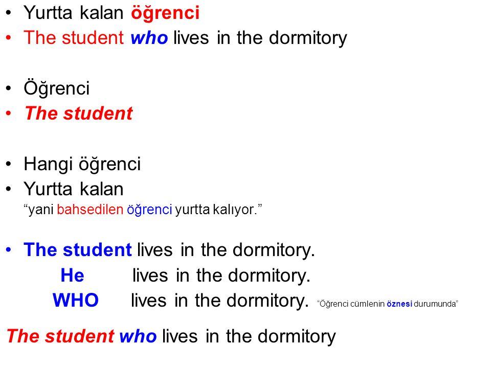 Yurtta kalan öğrenci The student who lives in the dormitory Öğrenci The student Hangi öğrenci Yurtta kalan yani bahsedilen öğrenci yurtta kalıyor. The student lives in the dormitory.