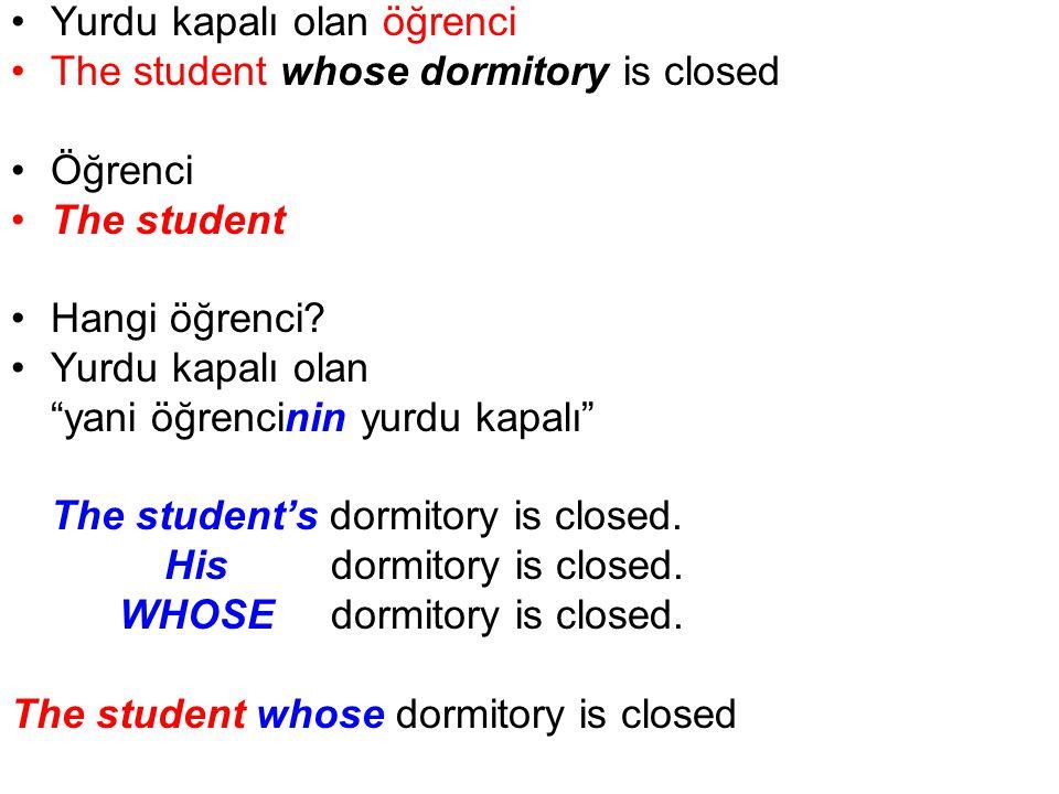 Yurdu kapalı olan öğrenci The student whose dormitory is closed Öğrenci The student Hangi öğrenci.