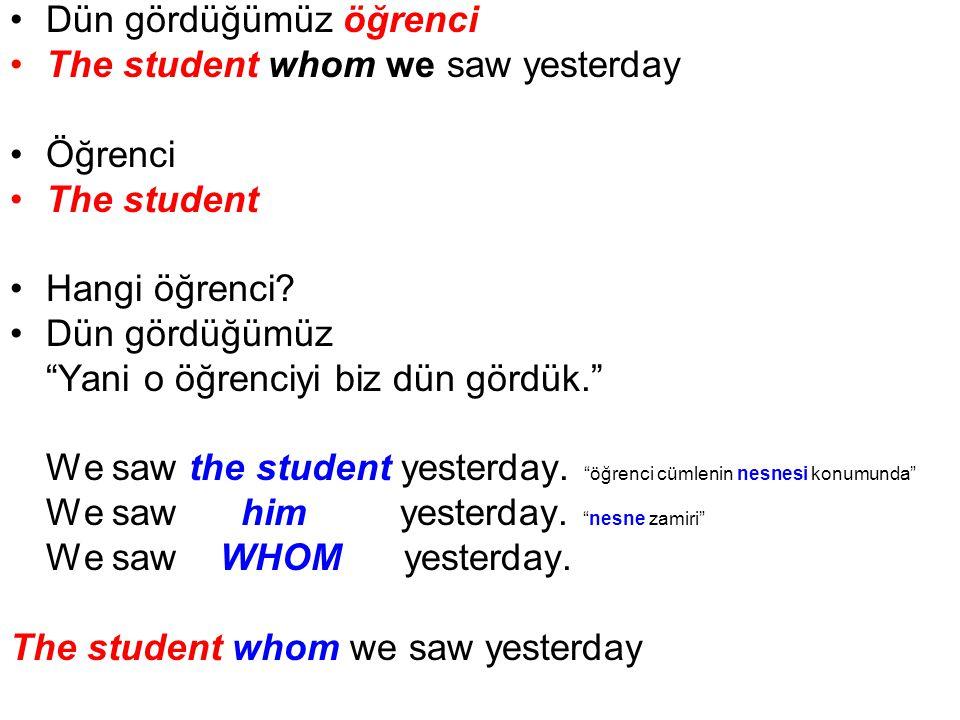 Dün gördüğümüz öğrenci The student whom we saw yesterday Öğrenci The student Hangi öğrenci.