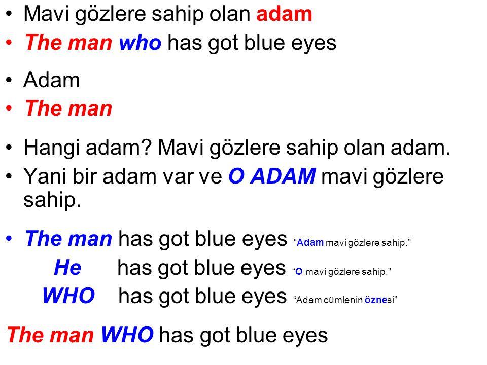 Gözleri mavi olan adam The man whose eyes are blue Adam The man Hangi adam.