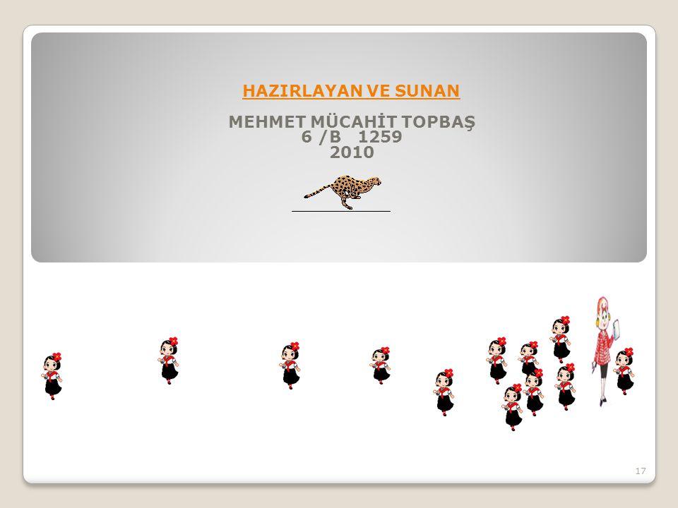 HAZIRLAYAN VE SUNAN MEHMET MÜCAHİT TOPBAŞ 6 /B 1259 2010 17