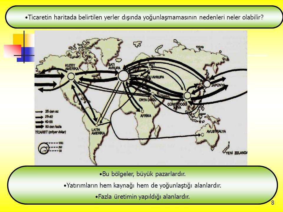 8 Ticaretin haritada belirtilen yerler dışında yoğunlaşmamasının nedenleri neler olabilir? Bu bölgeler, büyük pazarlardır. Yatırımların hem kaynağı he