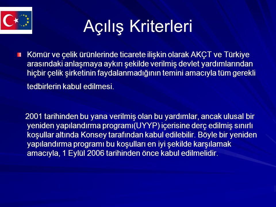 Açılış Kriterleri Kömür ve çelik ürünlerinde ticarete ilişkin olarak AKÇT ve Türkiye arasındaki anlaşmaya aykırı şekilde verilmiş devlet yardımlarından hiçbir çelik şirketinin faydalanmadığının temini amacıyla tüm gerekli tedbirlerin kabul edilmesi.
