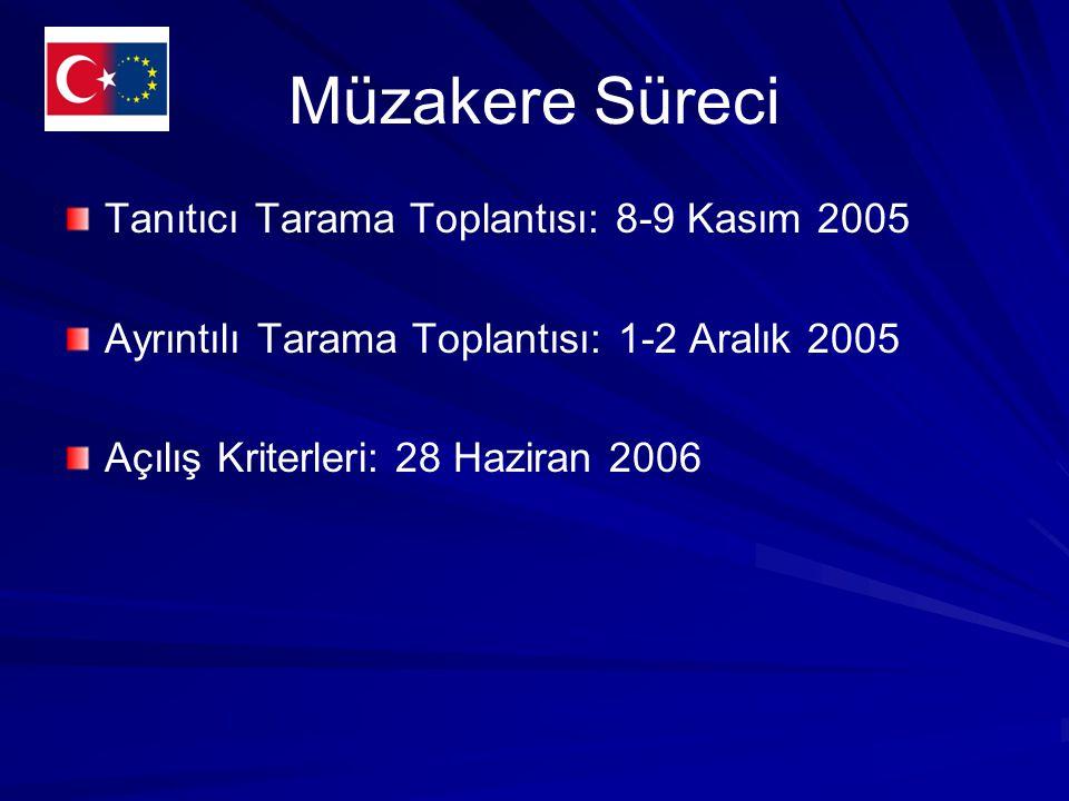Müzakere Süreci Tanıtıcı Tarama Toplantısı: 8-9 Kasım 2005 Ayrıntılı Tarama Toplantısı: 1-2 Aralık 2005 Açılış Kriterleri: 28 Haziran 2006