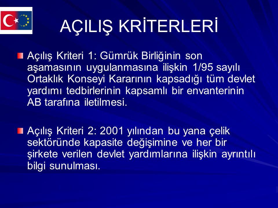 Açılış Kriterleri Açılış Kriteri 3: Türkiye ve AB arasındaki mevcut ikili anlaşmalardan kaynaklanan yükümlülükleri yerine getirmek amacıyla devlet yardımlarının onaylanması, devlet yardımları uygulamasının izlenmesi ve geri alınmasına ilişkin genel şartları ve kuralları belirleyen bir devlet yardımları kanununun kabulü.