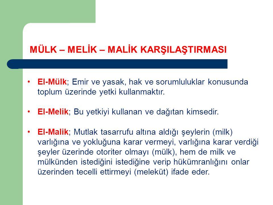 El-Mülk; Emir ve yasak, hak ve sorumluluklar konusunda toplum üzerinde yetki kullanmaktır.