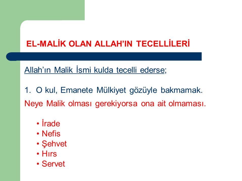Allah'ın Malik İsmi kulda tecelli ederse; 1. O kul, Emanete Mülkiyet gözüyle bakmamak.