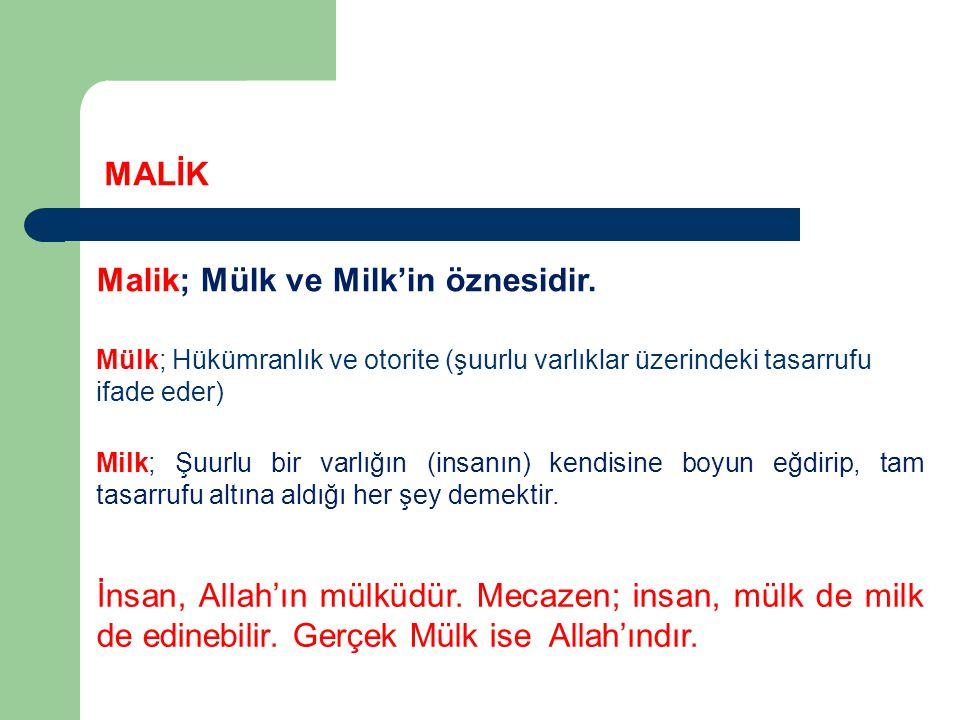 Mülk; Hükümranlık ve otorite (şuurlu varlıklar üzerindeki tasarrufu ifade eder) MALİK Malik; Mülk ve Milk'in öznesidir.