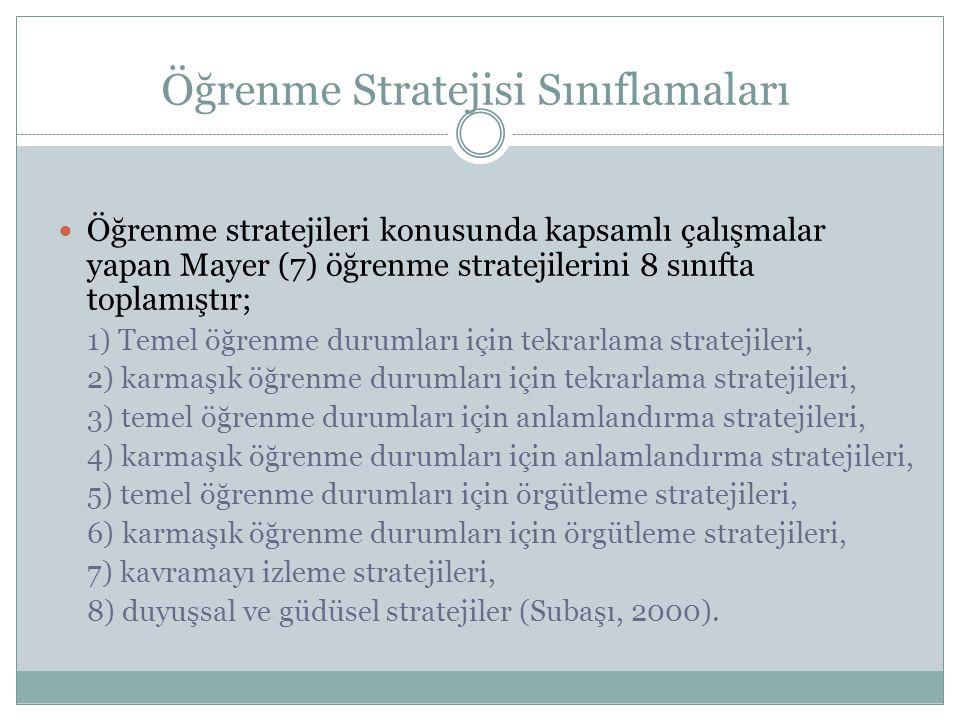 Öğrenme Stratejisi Sınıflamaları Öğrenme stratejileri konusunda kapsamlı çalışmalar yapan Mayer (7) öğrenme stratejilerini 8 sınıfta toplamıştır; 1) T