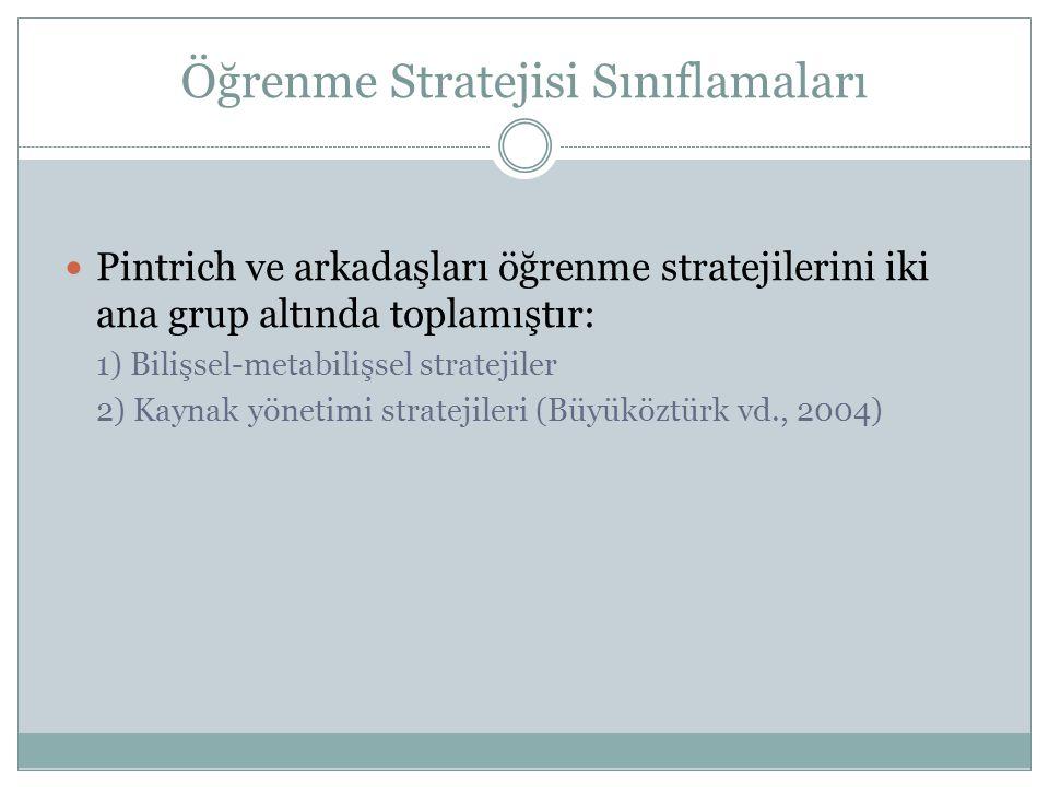 Öğrenme Stratejisi Sınıflamaları Pintrich ve arkadaşları öğrenme stratejilerini iki ana grup altında toplamıştır: 1) Bilişsel-metabilişsel stratejiler