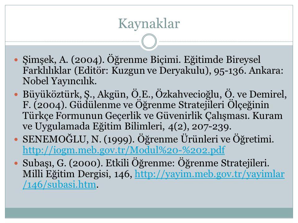 Kaynaklar Şimşek, A. (2004). Öğrenme Biçimi. Eğitimde Bireysel Farklılıklar (Editör: Kuzgun ve Deryakulu), 95-136. Ankara: Nobel Yayıncılık. Büyüköztü