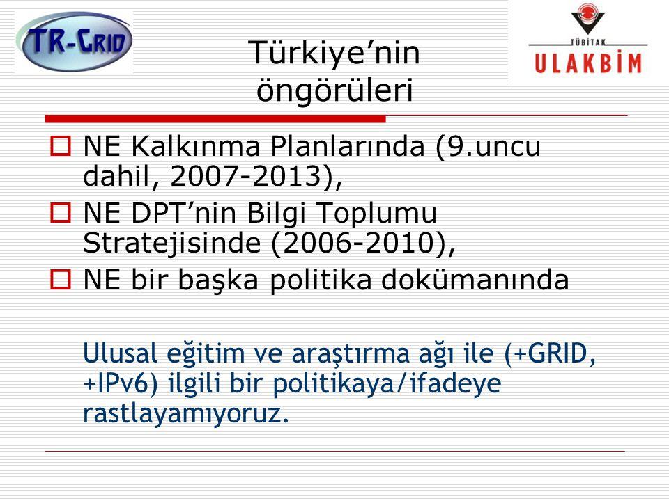 Türkiye'nin öngörüleri  NE Kalkınma Planlarında (9.uncu dahil, 2007-2013),  NE DPT'nin Bilgi Toplumu Stratejisinde (2006-2010),  NE bir başka polit