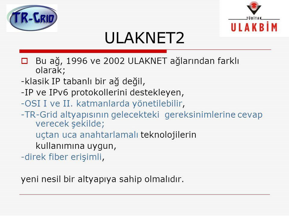 ULAKNET2  Bu ağ, 1996 ve 2002 ULAKNET ağlarından farklı olarak; -klasik IP tabanlı bir ağ değil, -IP ve IPv6 protokollerini destekleyen, -OSI I ve II