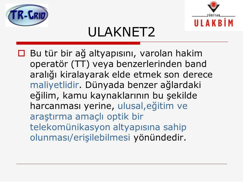 ULAKNET2  Bu tür bir ağ altyapısını, varolan hakim operatör (TT) veya benzerlerinden band aralığı kiralayarak elde etmek son derece maliyetlidir. Dün