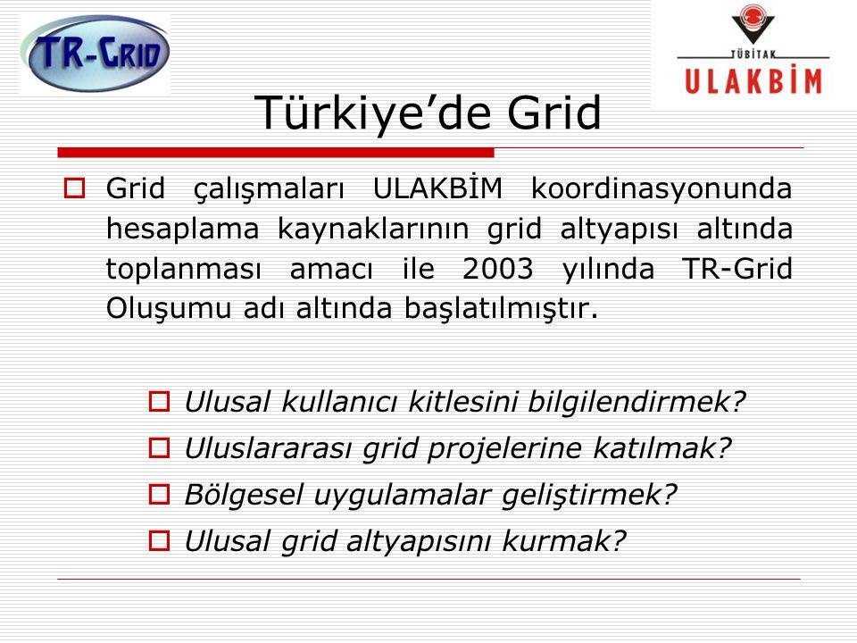 Türkiye'de Grid  Grid çalışmaları ULAKBİM koordinasyonunda hesaplama kaynaklarının grid altyapısı altında toplanması amacı ile 2003 yılında TR-Grid O