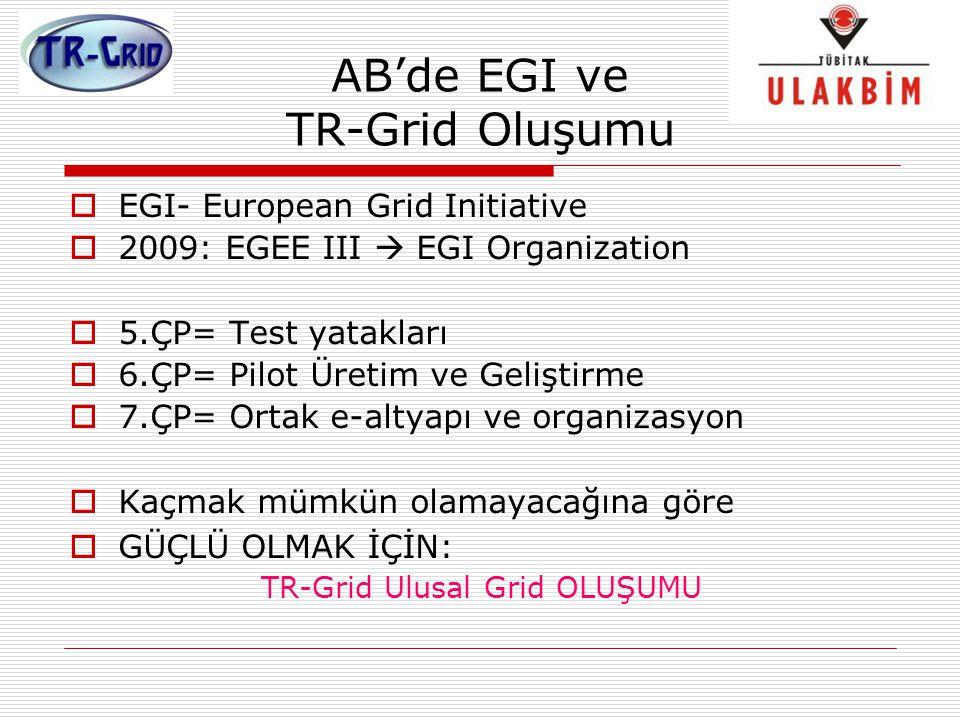 AB'de EGI ve TR-Grid Oluşumu  EGI- European Grid Initiative  2009: EGEE III  EGI Organization  5.ÇP= Test yatakları  6.ÇP= Pilot Üretim ve Gelişt