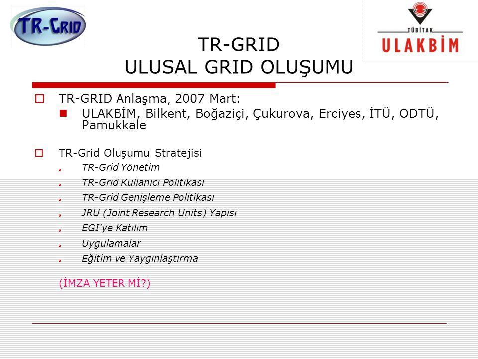 TR-GRID ULUSAL GRID OLUŞUMU  TR-GRID Anlaşma, 2007 Mart: ULAKBİM, Bilkent, Boğaziçi, Çukurova, Erciyes, İTÜ, ODTÜ, Pamukkale  TR-Grid Oluşumu Strate