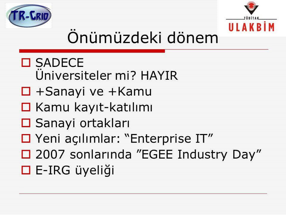 """Önümüzdeki dönem  SADECE Üniversiteler mi? HAYIR  +Sanayi ve +Kamu  Kamu kayıt-katılımı  Sanayi ortakları  Yeni açılımlar: """"Enterprise IT""""  2007"""