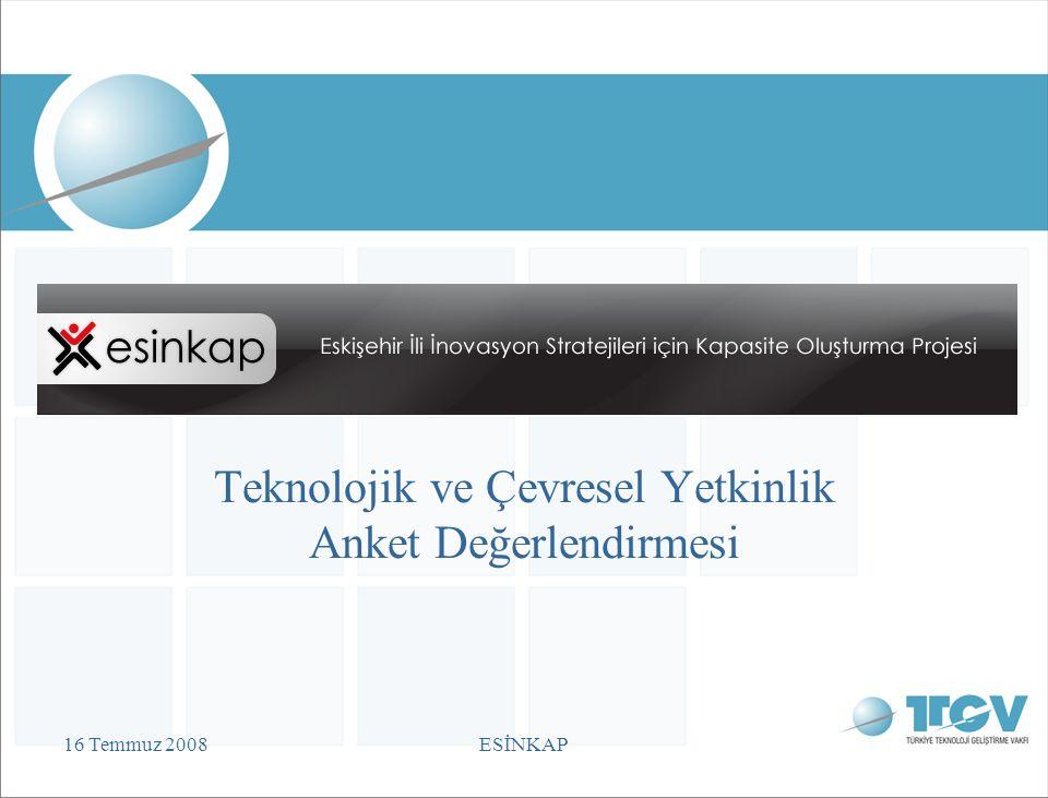 16 Temmuz 2008ESİNKAP Teknolojik ve Çevresel Yetkinlik Anket Değerlendirmesi