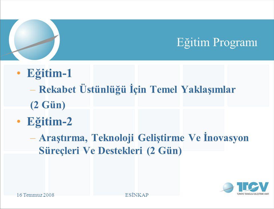 16 Temmuz 2008ESİNKAP Eğitim Programı Eğitim-1 –Rekabet Üstünlüğü İçin Temel Yaklaşımlar (2 Gün) Eğitim-2 –Araştırma, Teknoloji Geliştirme Ve İnovasyon Süreçleri Ve Destekleri (2 Gün)