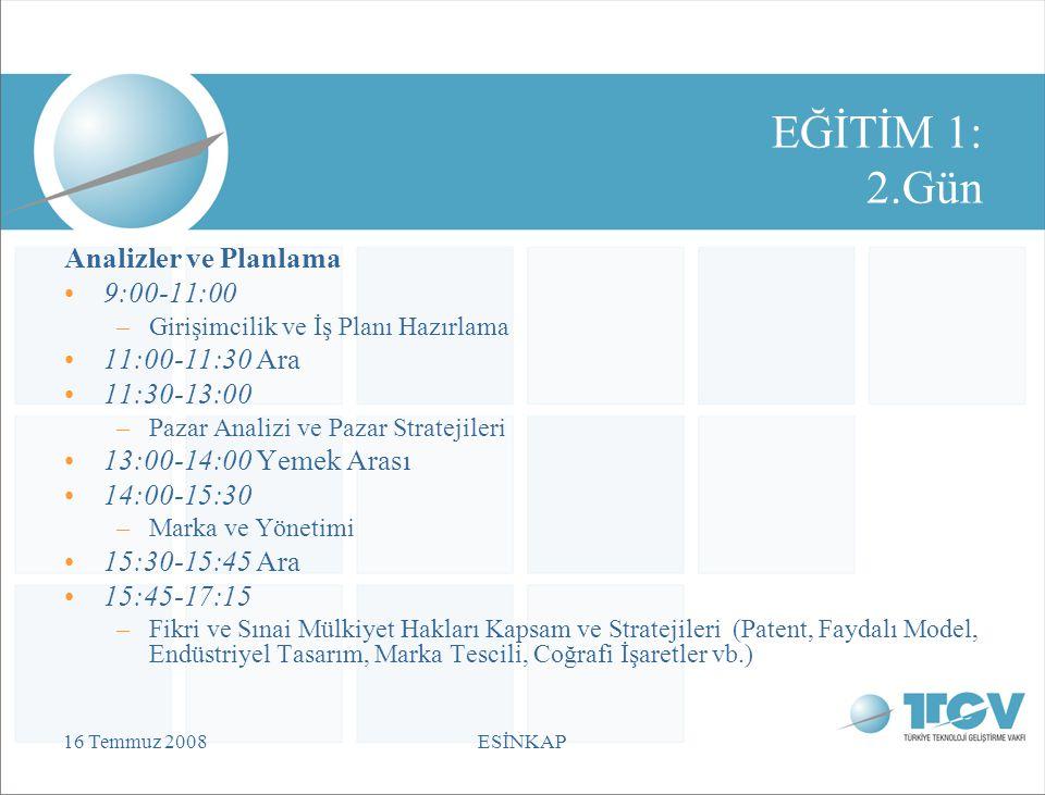 16 Temmuz 2008ESİNKAP EĞİTİM 1: 2.Gün Analizler ve Planlama 9:00-11:00 –Girişimcilik ve İş Planı Hazırlama 11:00-11:30 Ara 11:30-13:00 –Pazar Analizi ve Pazar Stratejileri 13:00-14:00 Yemek Arası 14:00-15:30 –Marka ve Yönetimi 15:30-15:45 Ara 15:45-17:15 –Fikri ve Sınai Mülkiyet Hakları Kapsam ve Stratejileri (Patent, Faydalı Model, Endüstriyel Tasarım, Marka Tescili, Coğrafi İşaretler vb.)