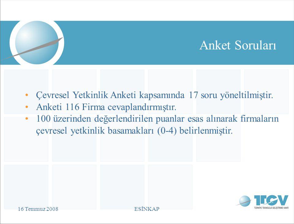16 Temmuz 2008ESİNKAP Anket Soruları Çevresel Yetkinlik Anketi kapsamında 17 soru yöneltilmiştir.