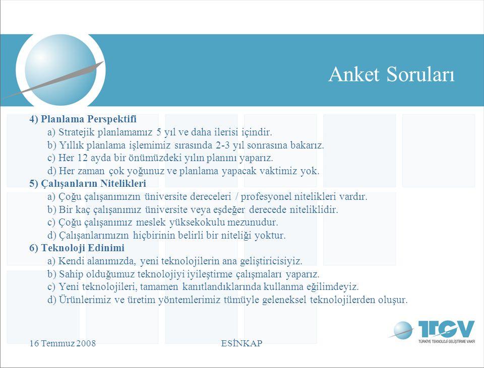 16 Temmuz 2008ESİNKAP Anket Soruları 4) Planlama Perspektifi a) Stratejik planlamamız 5 yıl ve daha ilerisi içindir.