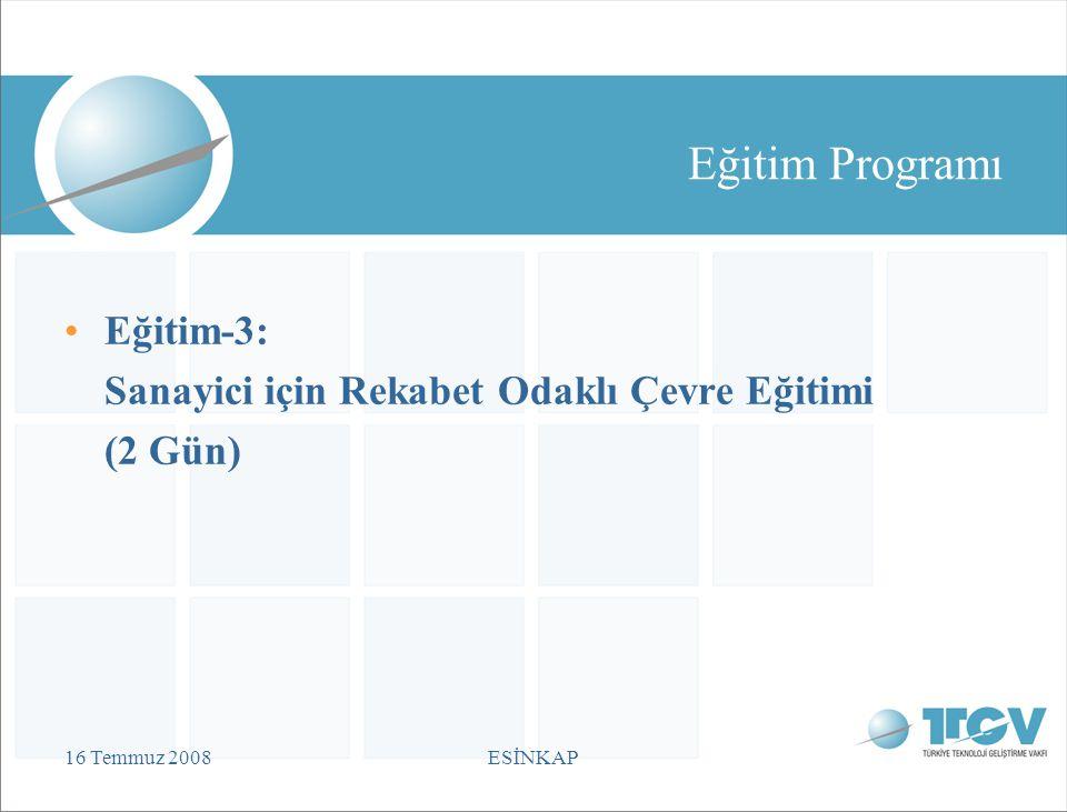 16 Temmuz 2008ESİNKAP Eğitim Programı Eğitim-3: Sanayici için Rekabet Odaklı Çevre Eğitimi (2 Gün)