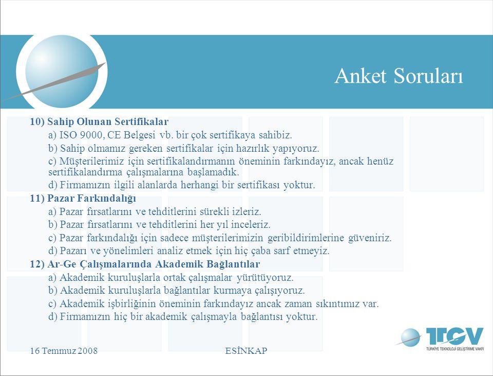 16 Temmuz 2008ESİNKAP Anket Soruları 10) Sahip Olunan Sertifikalar a) ISO 9000, CE Belgesi vb.