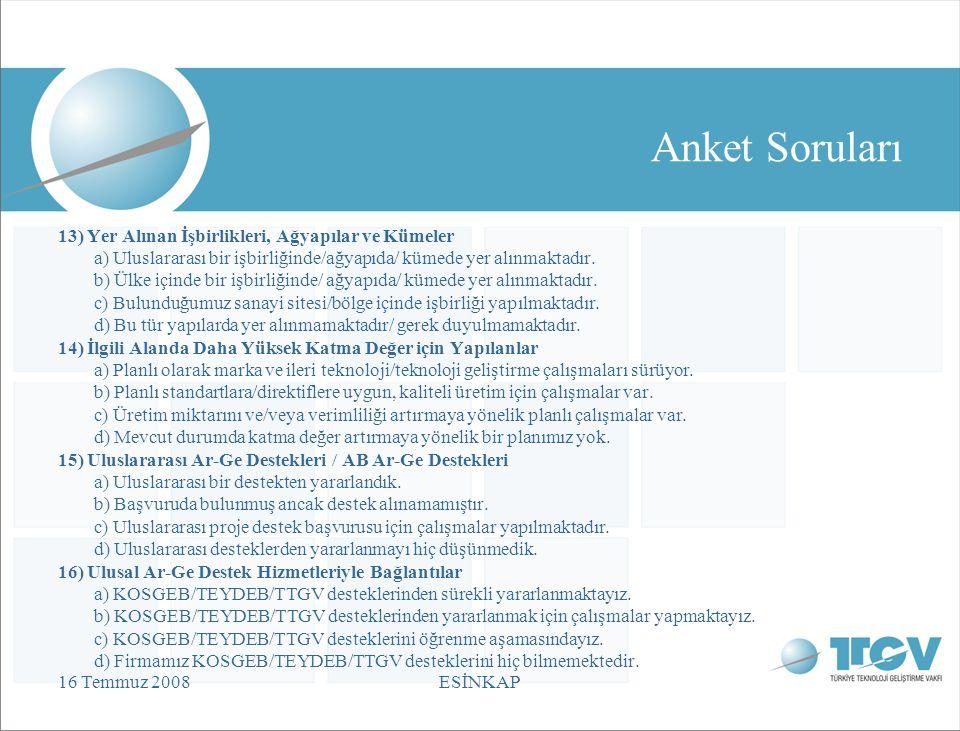 16 Temmuz 2008ESİNKAP Anket Soruları 13) Yer Alınan İşbirlikleri, Ağyapılar ve Kümeler a) Uluslararası bir işbirliğinde/ağyapıda/ kümede yer alınmaktadır.