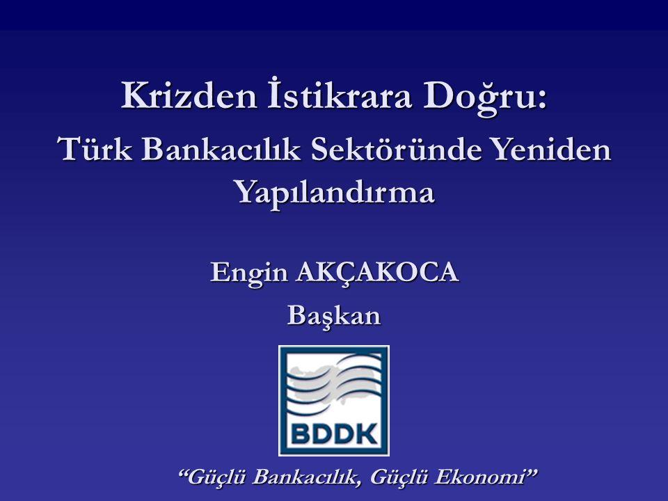 Yeniden Yapılandırma Çabalarının Sonuçları Bankacılık sektöründe konsolidasyon Bankacılık sektöründe konsolidasyon Banka sayısı 81'den (1999) 51'e düşmüştür.