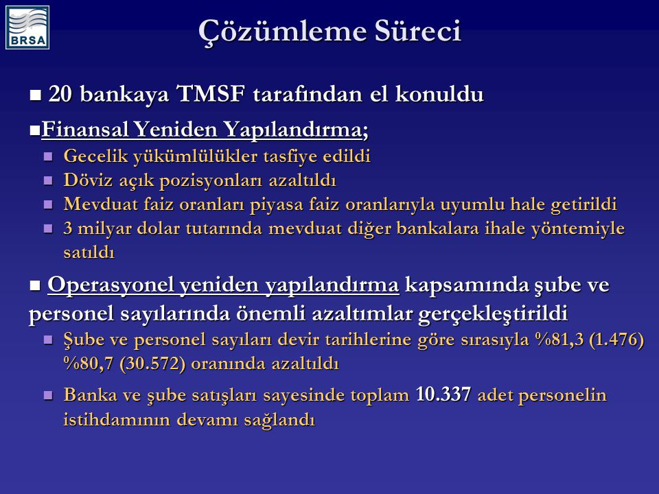 Çözümleme Süreci 20 bankaya TMSF tarafından el konuldu 20 bankaya TMSF tarafından el konuldu Finansal Yeniden Yapılandırma; Finansal Yeniden Yapılandırma; Gecelik yükümlülükler tasfiye edildi Gecelik yükümlülükler tasfiye edildi Döviz açık pozisyonları azaltıldı Döviz açık pozisyonları azaltıldı Mevduat faiz oranları piyasa faiz oranlarıyla uyumlu hale getirildi Mevduat faiz oranları piyasa faiz oranlarıyla uyumlu hale getirildi 3 milyar dolar tutarında mevduat diğer bankalara ihale yöntemiyle satıldı 3 milyar dolar tutarında mevduat diğer bankalara ihale yöntemiyle satıldı Operasyonel yeniden yapılandırma kapsamında şube ve personel sayılarında önemli azaltımlar gerçekleştirildi Operasyonel yeniden yapılandırma kapsamında şube ve personel sayılarında önemli azaltımlar gerçekleştirildi Şube ve personel sayıları devir tarihlerine göre sırasıyla %81,3 (1.476) %80,7 (30.572) oranında azaltıldı Şube ve personel sayıları devir tarihlerine göre sırasıyla %81,3 (1.476) %80,7 (30.572) oranında azaltıldı Banka ve şube satışları sayesinde toplam 10.337 adet personelin istihdamının devamı sağlandı Banka ve şube satışları sayesinde toplam 10.337 adet personelin istihdamının devamı sağlandı