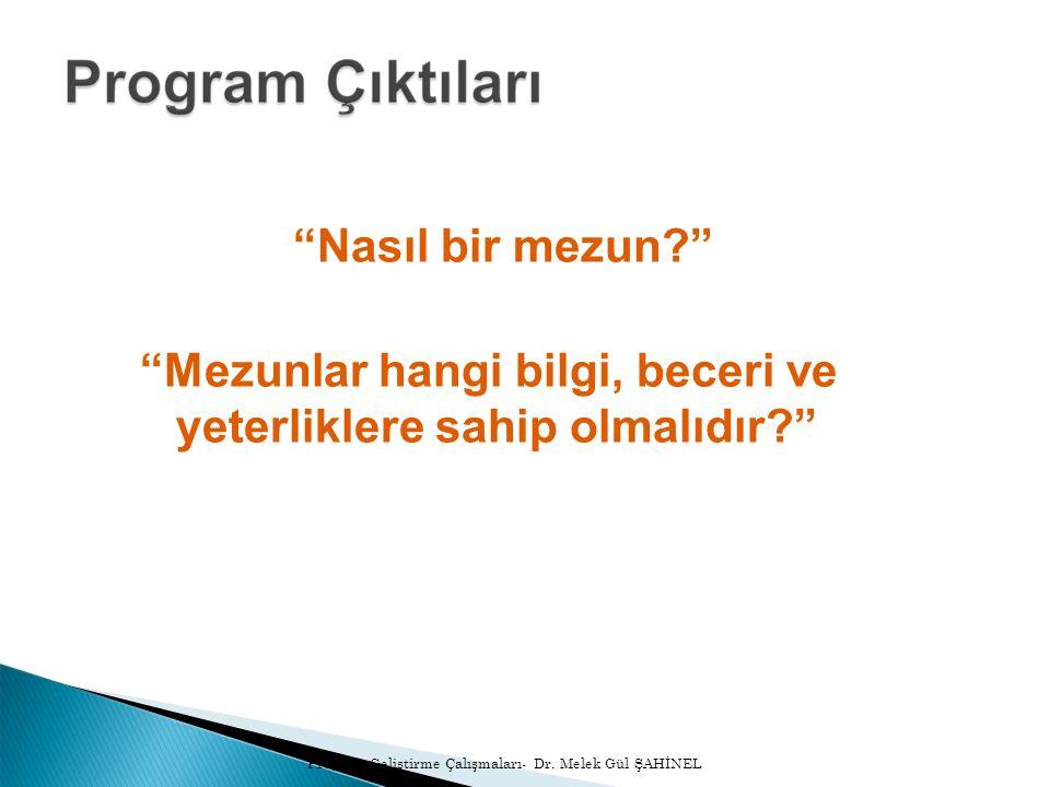 TEŞEKKÜR EDERİM Program Geliştirme Çalışmaları- Dr. Melek Gül ŞAHİNEL