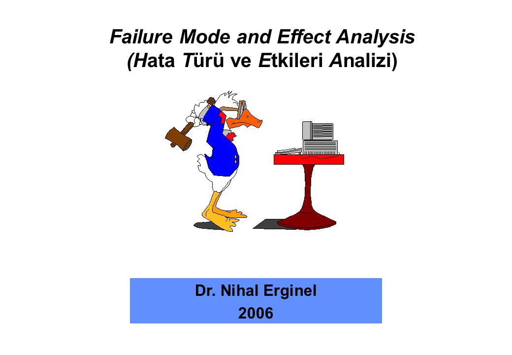 Failure Mode and Effect Analysis (Hata Türü ve Etkileri Analizi) Dr. Nihal Erginel 2006