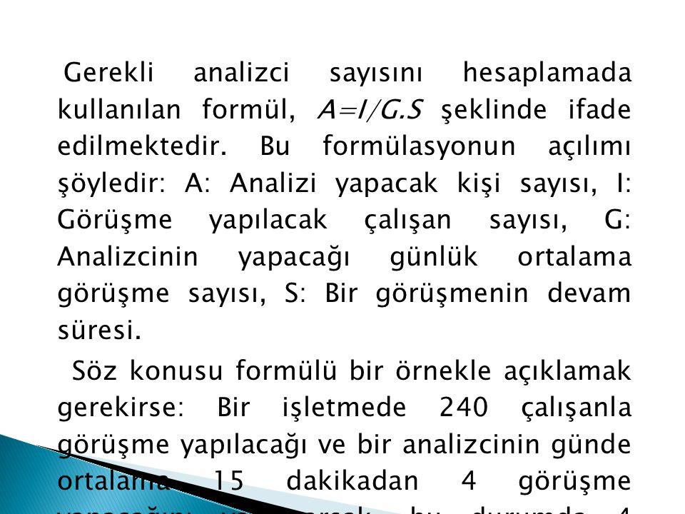 Gerekli analizci sayısını hesaplamada kullanılan formül, A=I/G.S şeklinde ifade edilmektedir. Bu formülasyonun açılımı şöyledir: A: Analizi yapacak ki