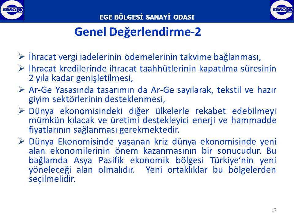 EGE BÖLGESİ SANAYİ ODASI  İzmir Organize Sanayi Bölgeleri,  Serbest Bölgeleri,  Teknoloji Geliştirme Bölgesi ve  7 üniversitesi ile üretim ve teknolojik imkanları en üst düzeyde sağlamaktadır.