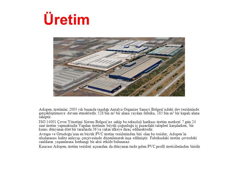Adopen, üretimini 2003 yılı başında taşıdığı Antalya Organize Sanayi Bölgesi'ndeki dev tesislerinde gerçekleştirmeye devam etmektedir. 528 bin m² bir