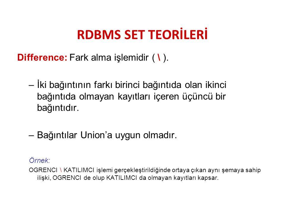 RDBMS SET TEORİLERİ Difference: Fark alma işlemidir ( \ ). –İki bağıntının farkı birinci bağıntıda olan ikinci bağıntıda olmayan kayıtları içeren üçün